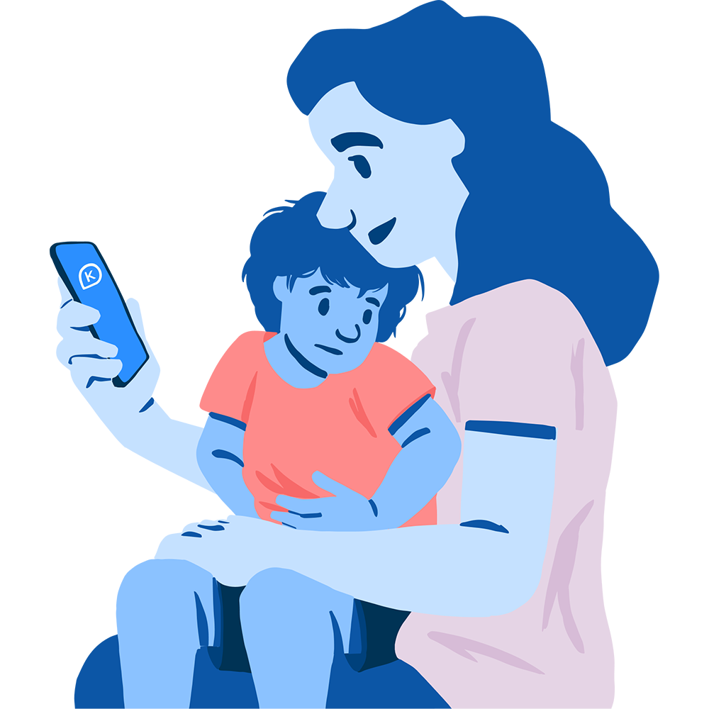 Illustration of a mother using the K app on her phone with with her child in her lap